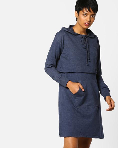 Hooded Popover Dress With Kangaroo Pocket By AJIO ( Navyblue )