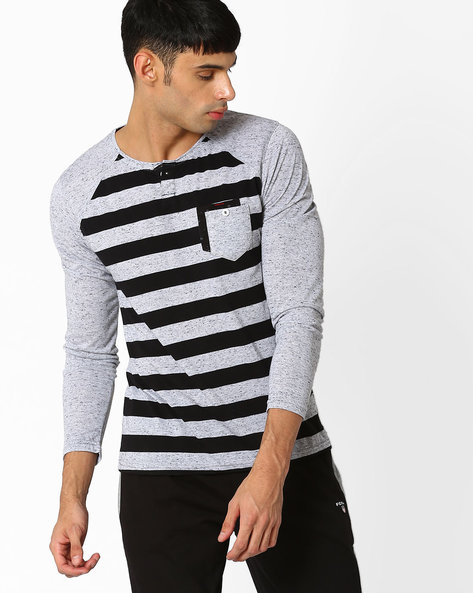Striped Henley T-shirt With Raglan Sleeves By Fort Collins ( Black )