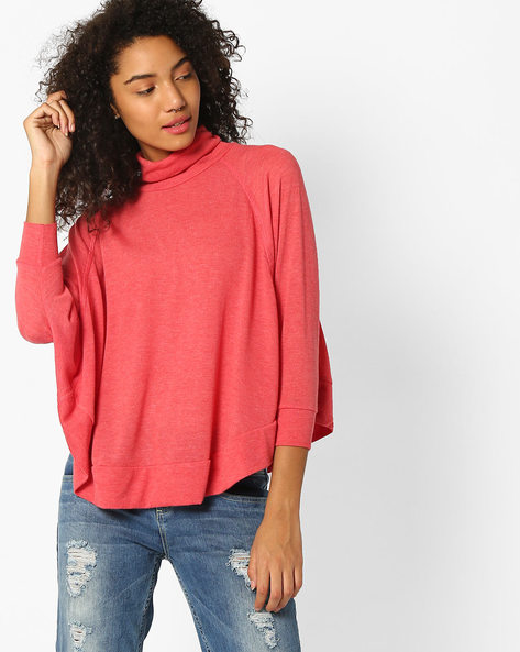 Turtle-Neck Top With Batwing Sleeves By Teamspirit ( Red )