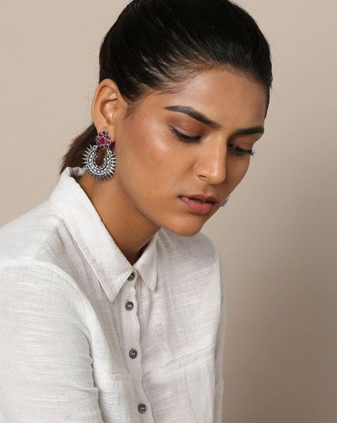 Oxidised German Silver Stone-Studded Earrings By Rubans ( Silver )