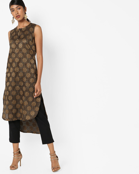 Printed High-Low Straight Kurta By AJIO ( Black )