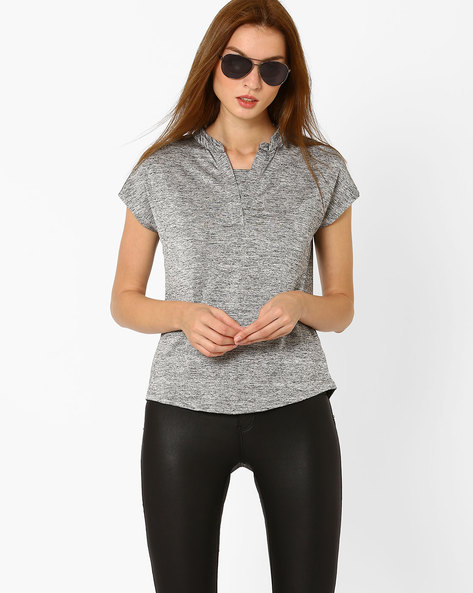 Heathered T-shirt With Band Collar By FIG ( Metsilver )