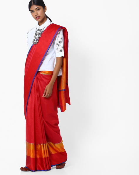 Saree With Colourblock Border By Pihu ( Red )