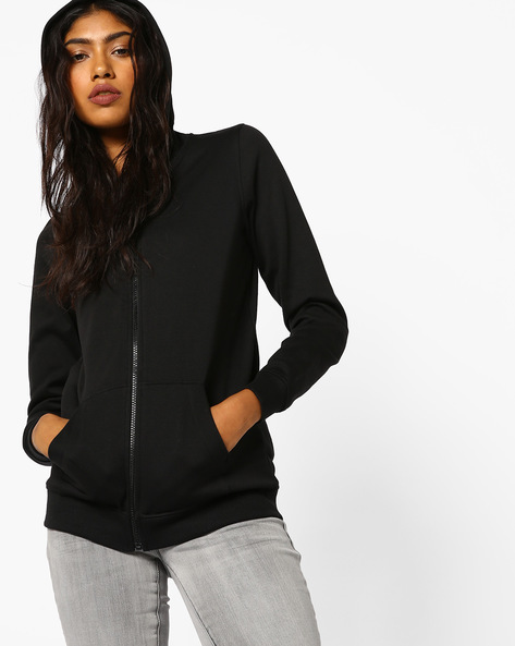 Hooded Sweatshirt With Front Zipper By Fame Forever By Lifestyle ( Black )