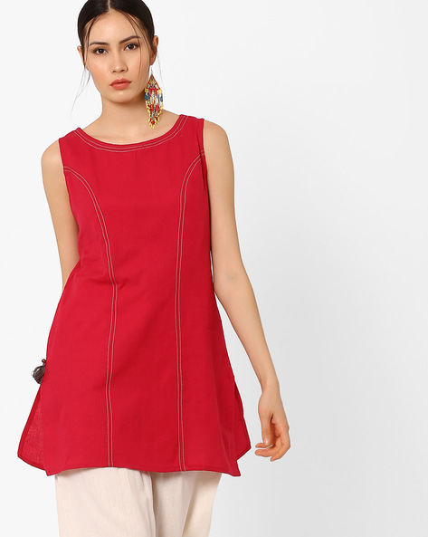 Sleeveless Tunic With Tassel Detail By AJIO ( Red )