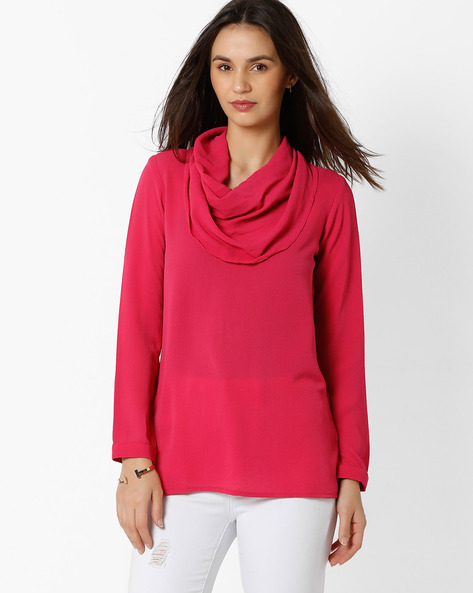 Cowl-Neck Top With Full Sleeves By And ( Fuschia )