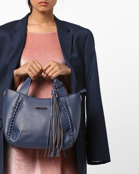 Christine Satchel Bag With Zipper Closure By CAPRESE ( Blue )