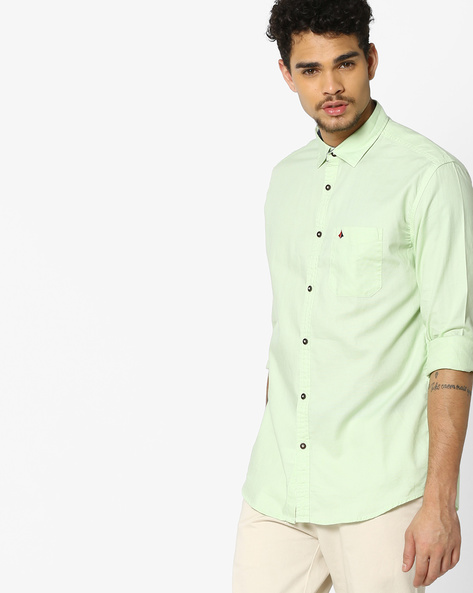 Slim Fit Shirt With Patch Pocket By British Club ( Green )