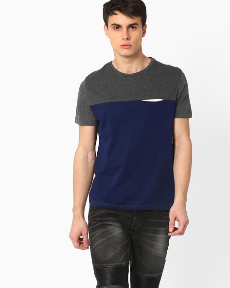 Cut & Sew Slim T-shirt By AJIO ( Navy )