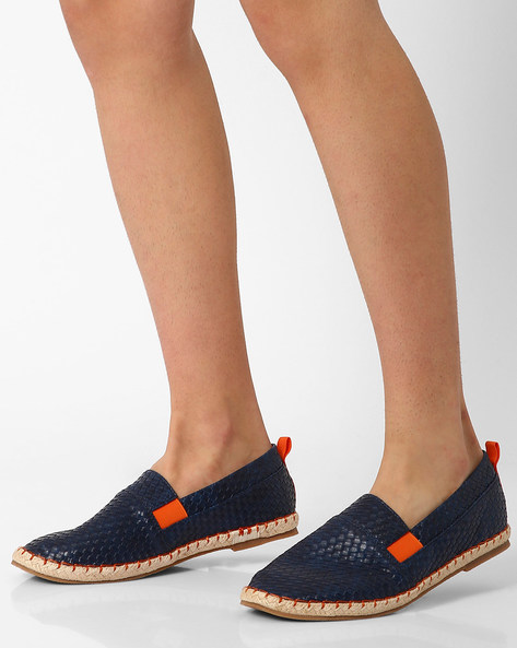 Faux-Leather Woven Espadrilles By AJIO ( Navy )