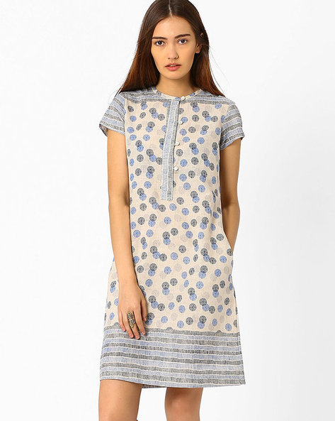 Printed Dress With Front Button Placket By And ( Multi )