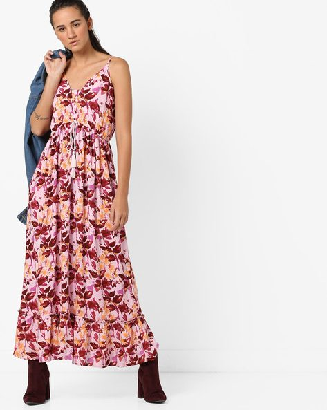Strappy Floral Print Maxi Dress With Tie-Up By AJIO ( Pink )