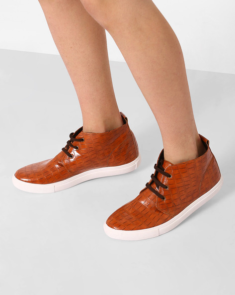 Faux-Leather Mid-Top Sneakers By AJIO ( Tan )