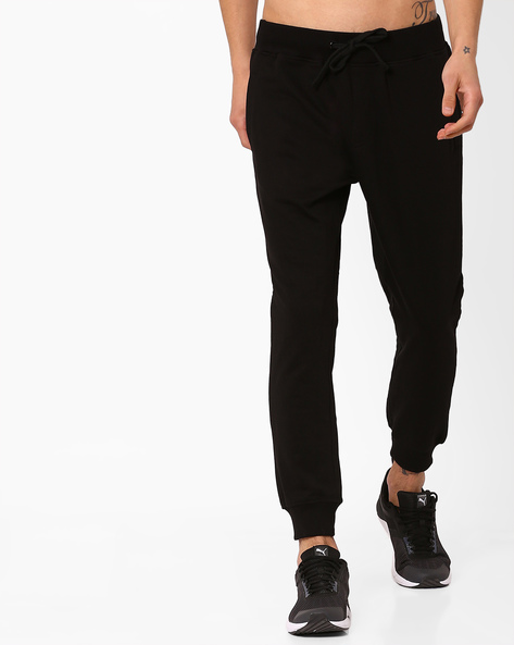 Slim Fit Joggers With Elasticated Waist By AJIO ( Black )