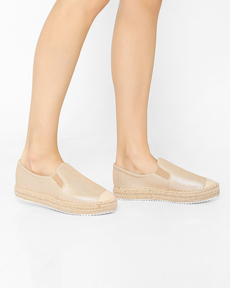 Slip-Ons With Braided Sole By Tresmode ( Gold )