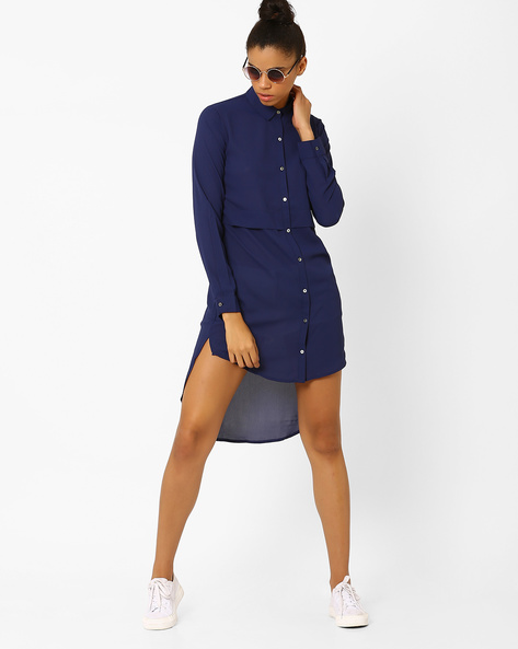 High-Low Shirt Tunic By Femella ( Navyblue )