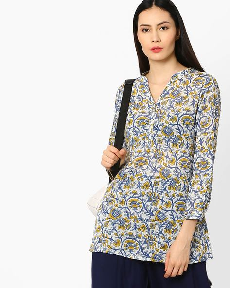 Floral Print Straight Kurti By Melange By Lifestyle ( Offwhite )