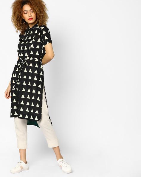 Printed High-Low Shirt Dress By AJIO ( Black )