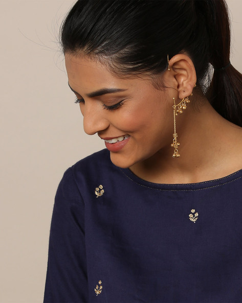 Gold-Plated Earcuff Dangler Earring By Rubans ( Gold )