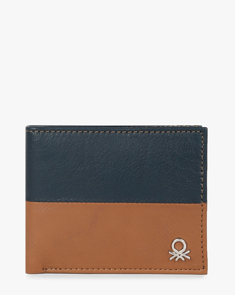 Genuine Leather Bi-Fold Wallet By UNITED COLORS OF BENETTON ( Navy )