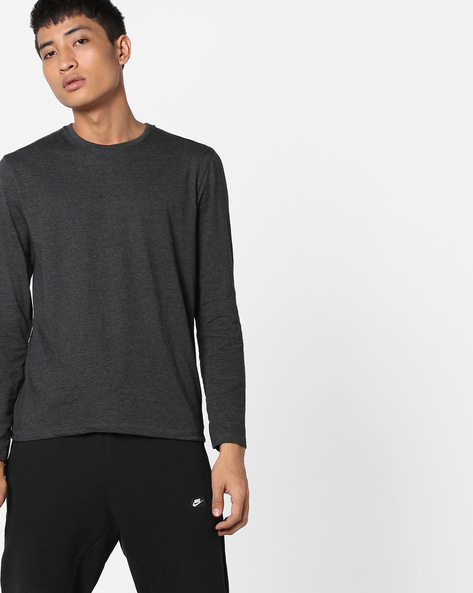 Crew-Neck T-shirt With Full Sleeves By Highlander ( Black )