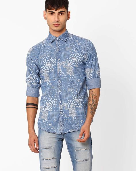 Slim Fit Printed Casual Shirt By CRIMSOUNE CLUB ( Black )
