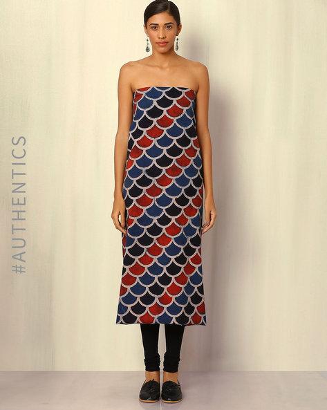 Ajrak Handblock Print Cotton Kurta Fabric By Indie Picks ( Multi ) - 460045259001