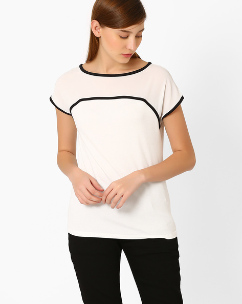 Panelled Relaxed Fit T-shirt By Marks & Spencer ( Beige )