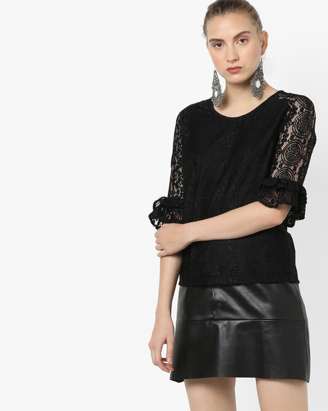Lace Top With Layered Flounce Sleeves By KRAUS ( Black )