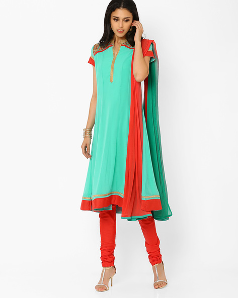 Flared Churidar Kurta With Dupatta By AJIO ( Seagreen )