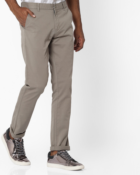 Slim Fit Flat-Front Chinos By British Club ( Grey )