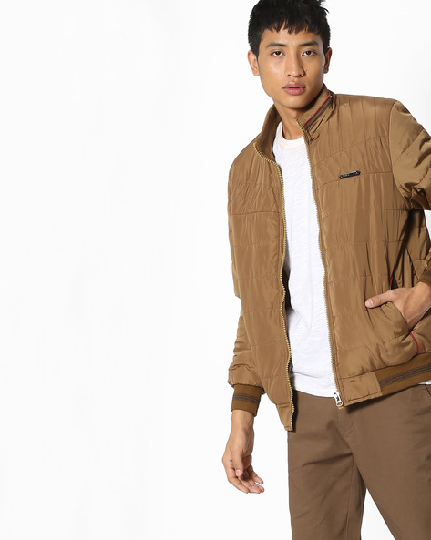 Bomber Jacket With Front Zipper By Fort Collins ( Khaki )