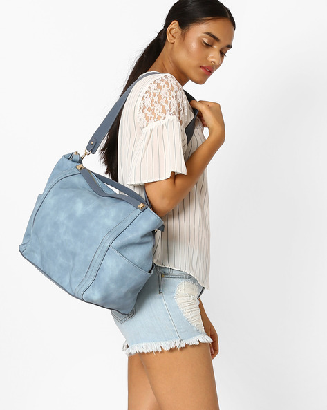 Tote Bag With Detachable Strap By AJIO ( Blue )