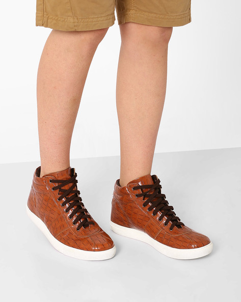 Textured High-Top Sneakers By AJIO ( Tan )