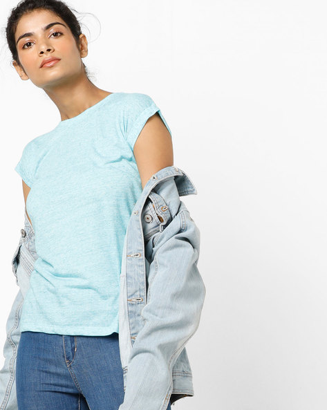 Heathered Crew-Neck T-shirt By Pepe Jeans ( Blue )