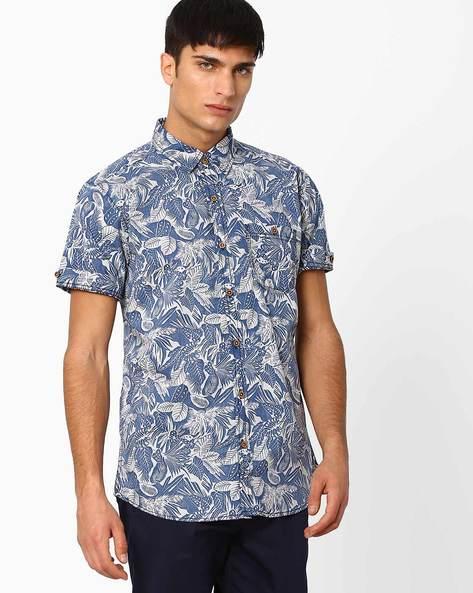 Tropical Print Slim Fit Shirt By DNMX ( Blue )