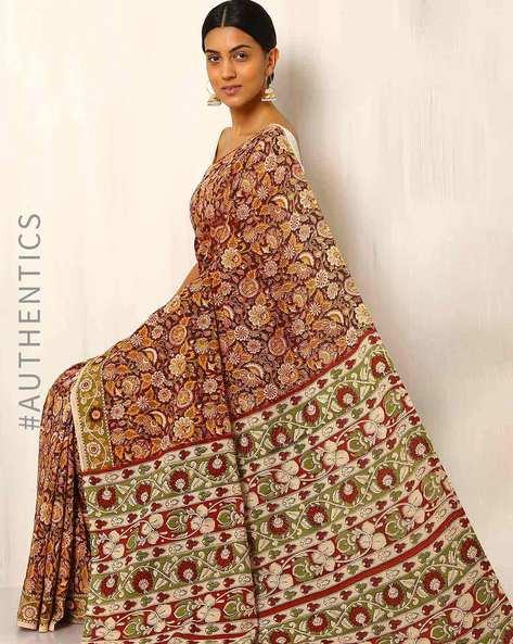 Kalamkari Cotton Silk Saree By Indie Picks ( Orange )