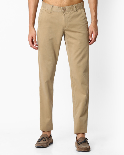 Slim Fit Cotton Chinos By VIMAL APPARELS ( Khaki )