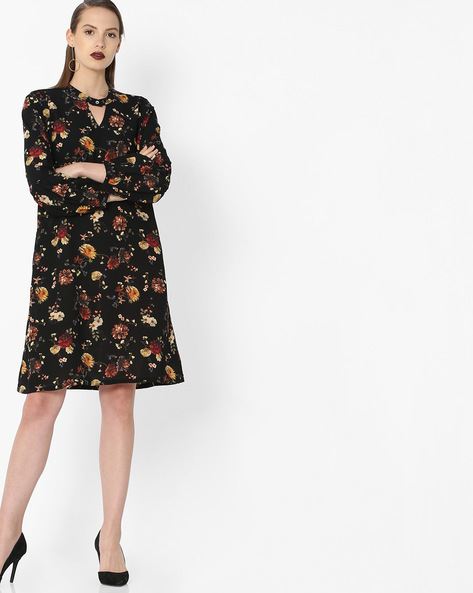 Floral Print Dress With Choker Neckline By Project Eve WW Casual ( Black )
