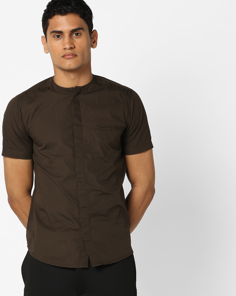 Shirt With Concealed Button Placket By AJIO ( Olive )
