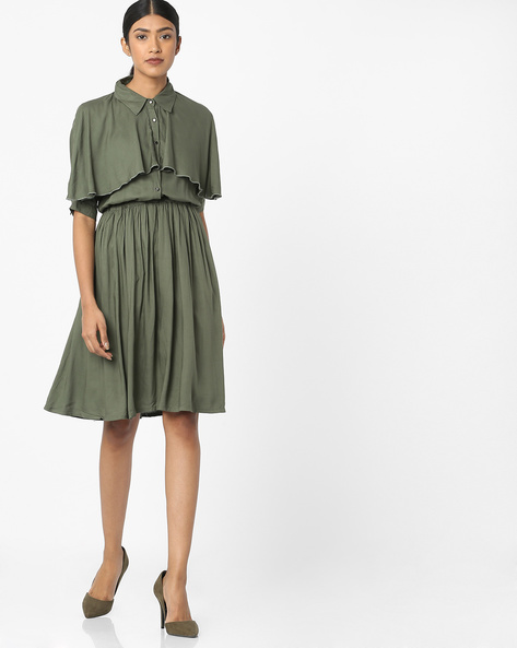 Pop-Over Dress With Button Placket By Tokyo Talkies ( Olive )