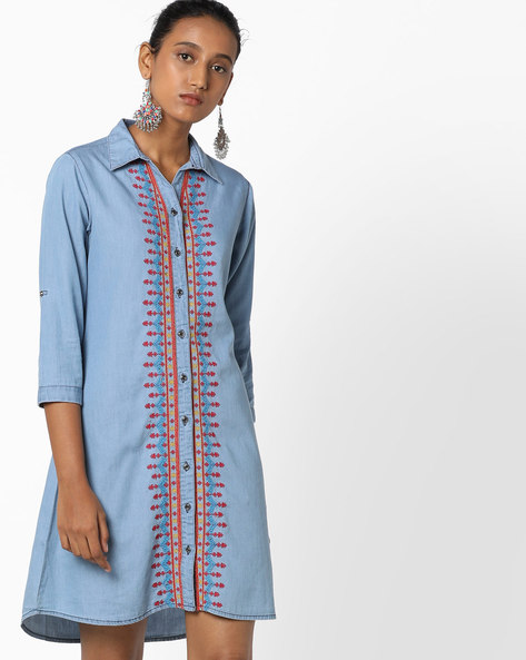 Denim Tunic With Embroidered Placket By AJIO ( Lightblue )