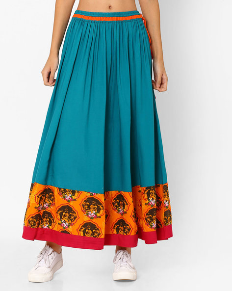 Printed Maxi Skirt By Akkriti By Pantaloons ( Turquoise )