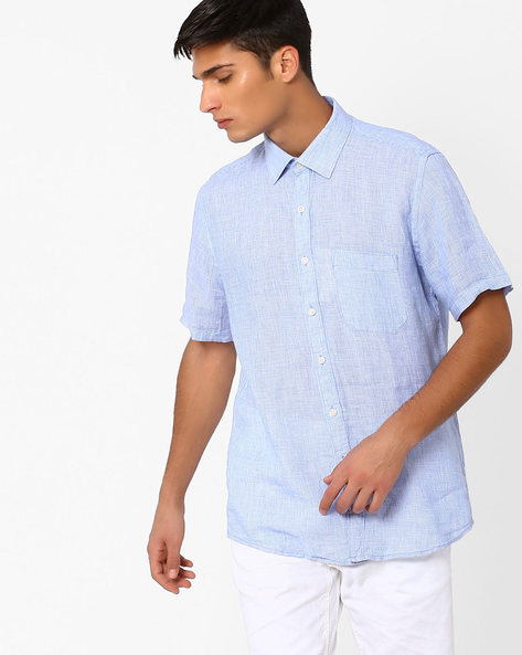 Linen Shirt With Patch Pocket By NETWORK ( Navy )
