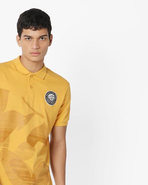 Graphic Print Polo T-shirt By AJIO ( Yellow )