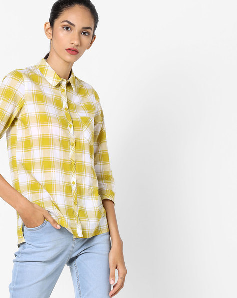 Checked High-Low Top By Fame Forever By Lifestyle ( Yellow )