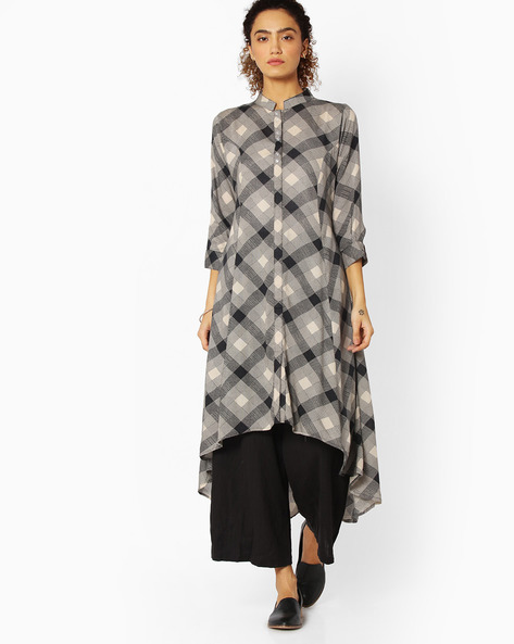 Checked Kurta With Waterfall Hem By Libas ( Grey )