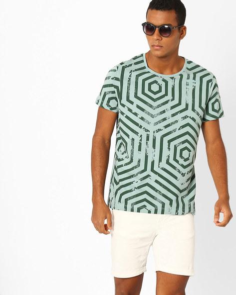 Geometric Print Slim Fit T-shirt By AJIO ( Green )