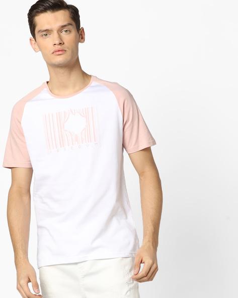 Graphic Print T-shirt With Raglan Sleeves By AJIO ( Purple )