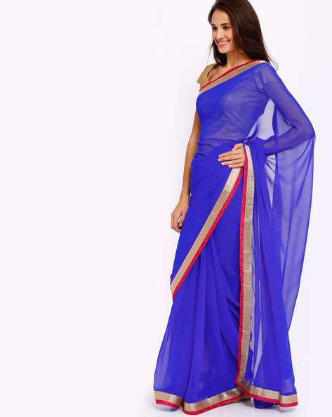 Chiffon Saree With Shimmery Border By Majestic Silk ( Blue )